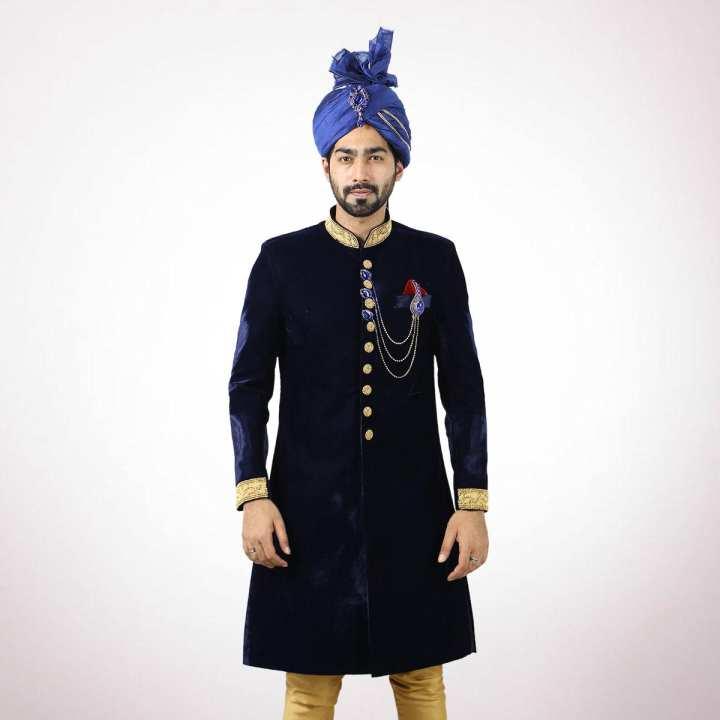 Dark Blue Velvet with Karchupi Work Sherwani For Men