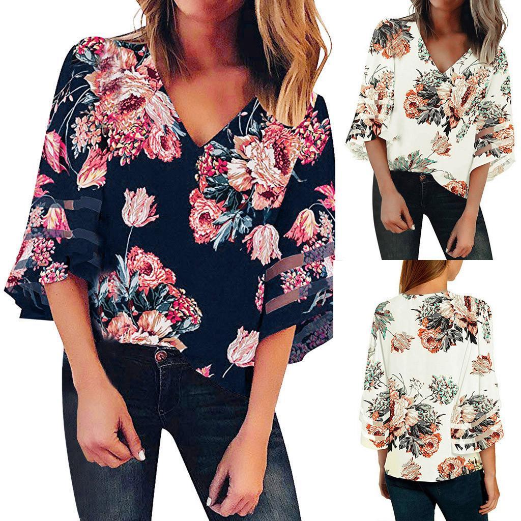 c47f57d6d Women's V Neck Print Mesh Panel Blouse 3/4 Bell Sleeve Loose Top Shirt