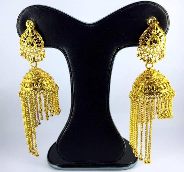 Golden Metal Jhumko Ear Ring for Women
