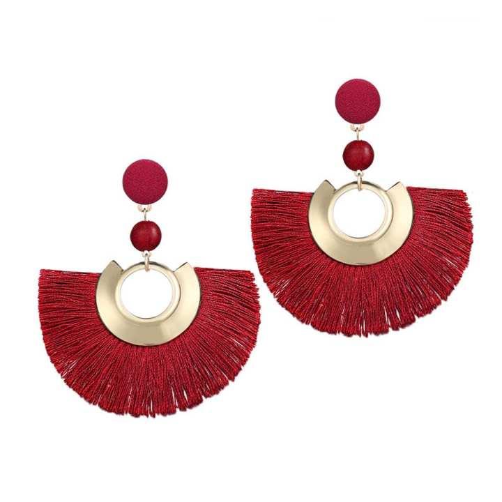 Valentines Day Special Big Tassel Drop Earrings For Women - Maroon