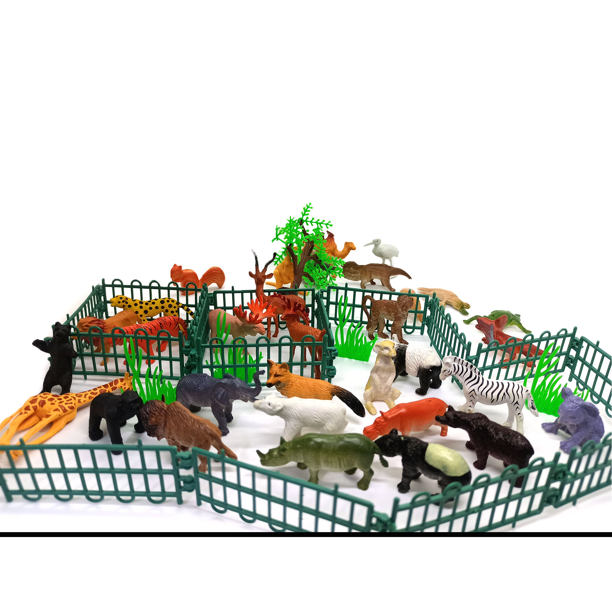 Mini Animal Zoo- Exclusive Animal Play Sets With More Than 25 Pcs Animal, Fence, Tree Etc. Learning Games For Boys Girls Kids Toddlers