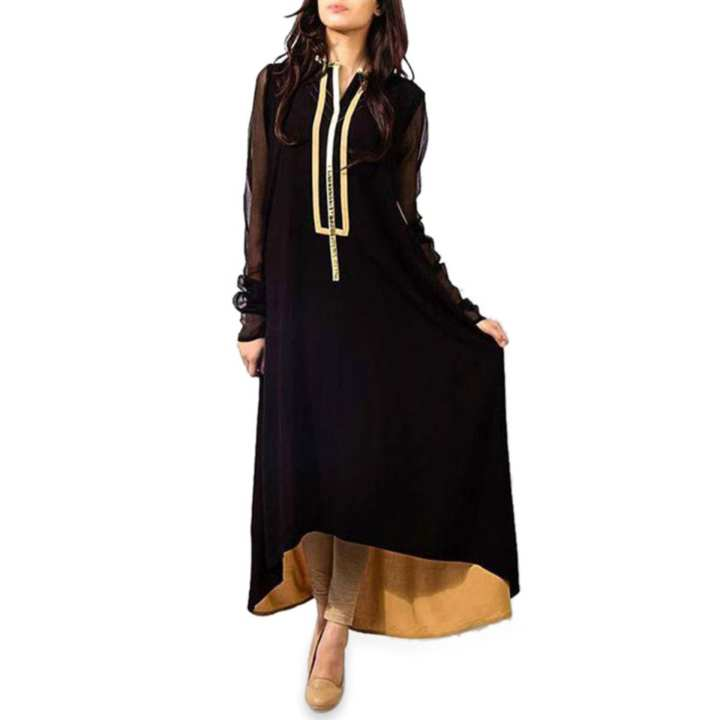 Black and Golden Linen Casual Long Sleeve Kurti for Women (Tailor Made)