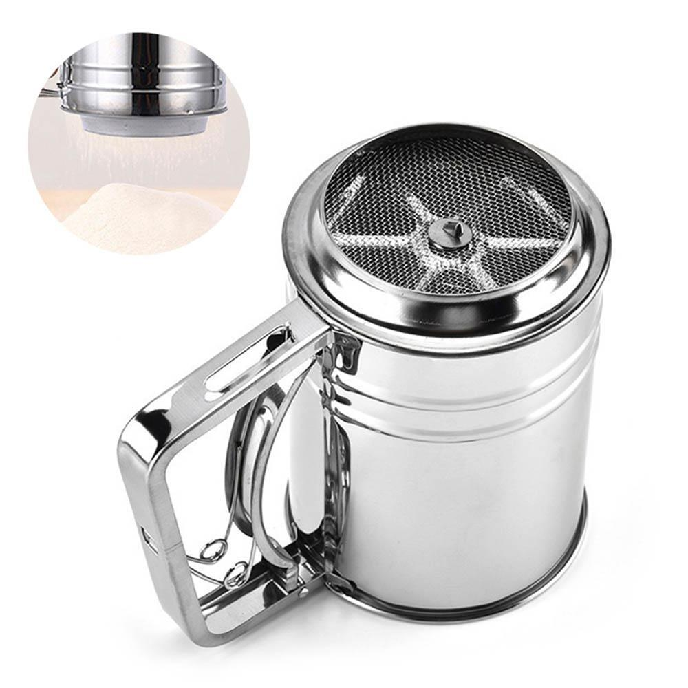 Stainless Steel Cup Style Hand-Crank Flour Sifter, Stainless Steel Shaker  Sieve Fine Mesh Sieve Great for Sifting Flour, Sugar Icing, Chocolate,