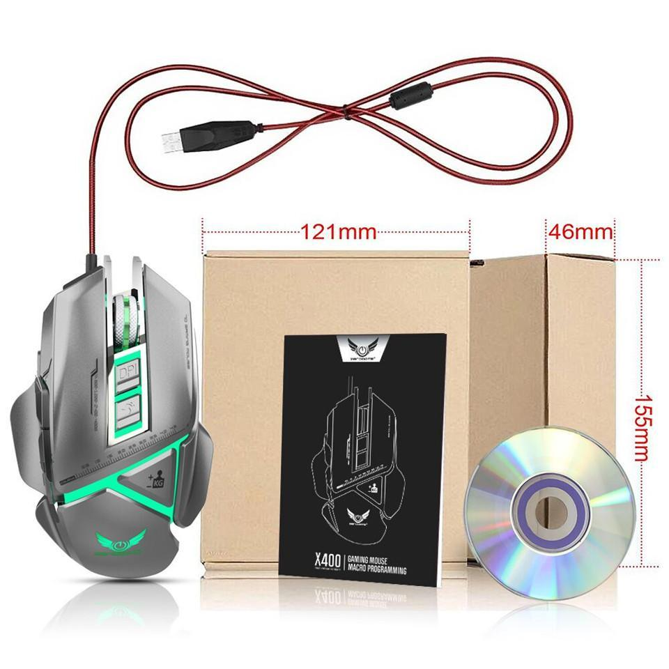ZERODATE X400GY 11 Programmable keys USB Wired Optical Mouse Mechanical  Macros Define Game Mouse Gamer For PC Computer Laptop