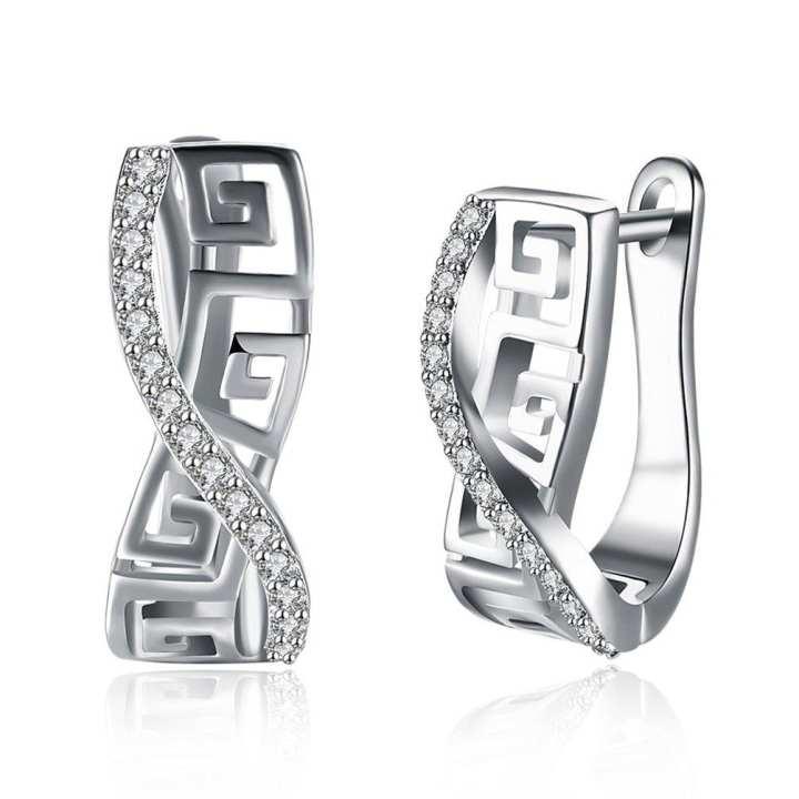 UR Vintage Ear Jewelry Copper Women Earrings Great Wall Pattern Lines Earrings