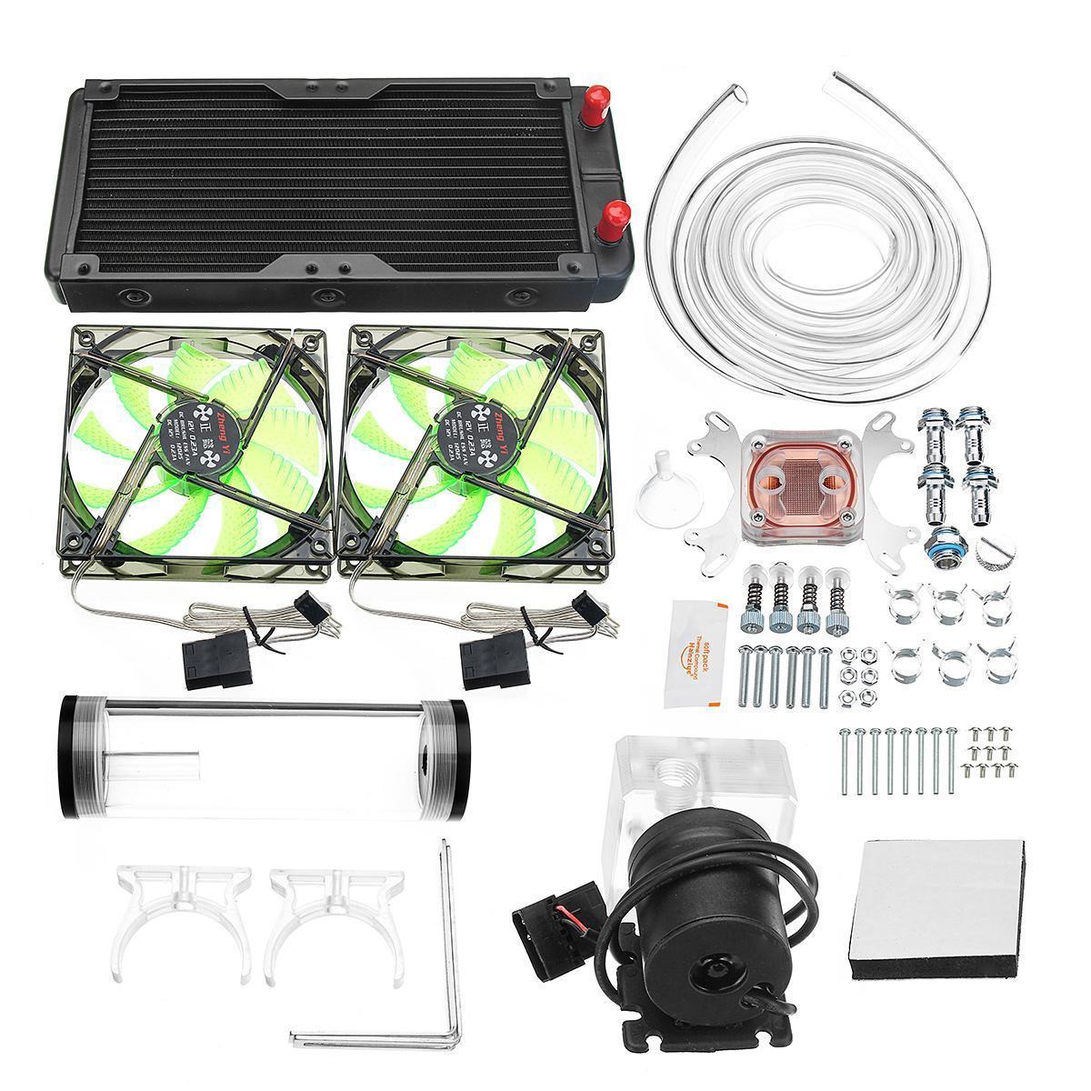 240mm DIY PC Water Cooling Kit CPU GPU Radiato Block Pump Tank Reservoir  Tubing