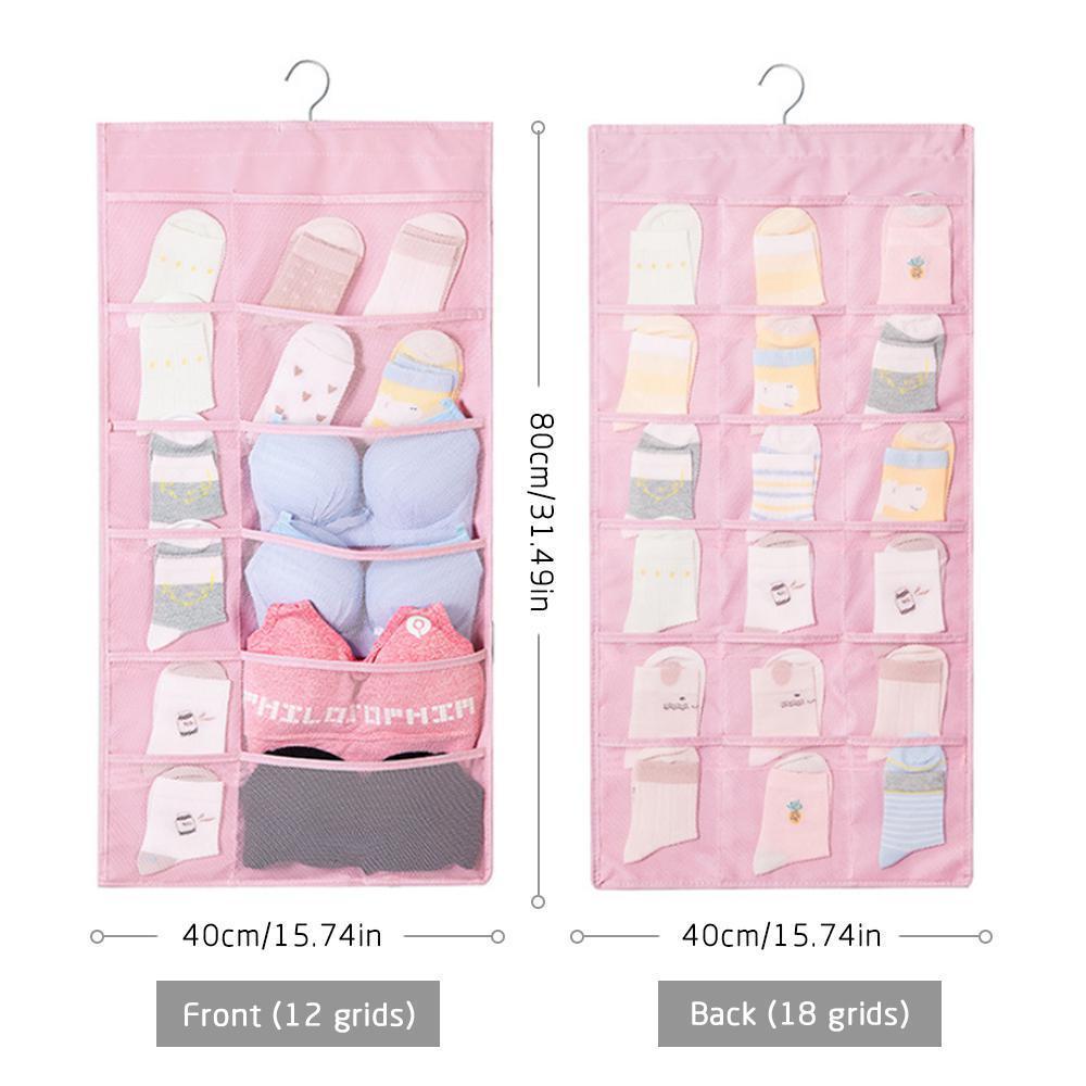 468829e7a73b Oxford Cloth Wall Hanging Storage Bag Double Sided Bra Underwear Organizer  Mesh Storage Bags Closet Organizer(1PCS)