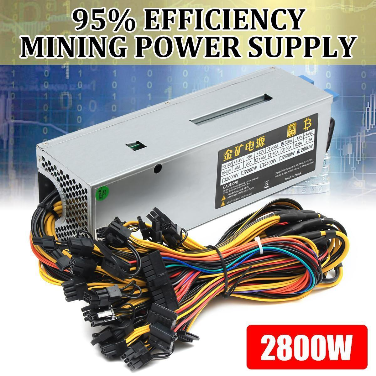 【Free Shipping + Flash Deal】2800W 12GPU Mining Power Supply F/ Eth Rig  Ethereum BTC Miner Dedicated 90 PLUS