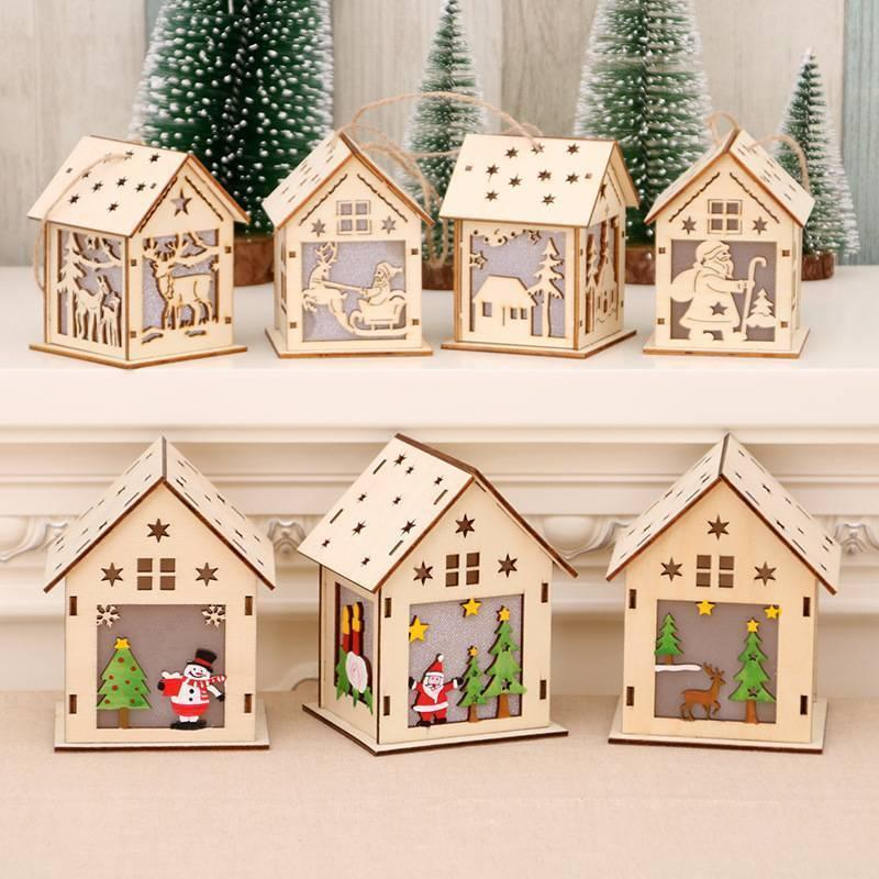 Christmas Wooden House Interior Xmas Tree Hanging Ornament Decoration LED Lights