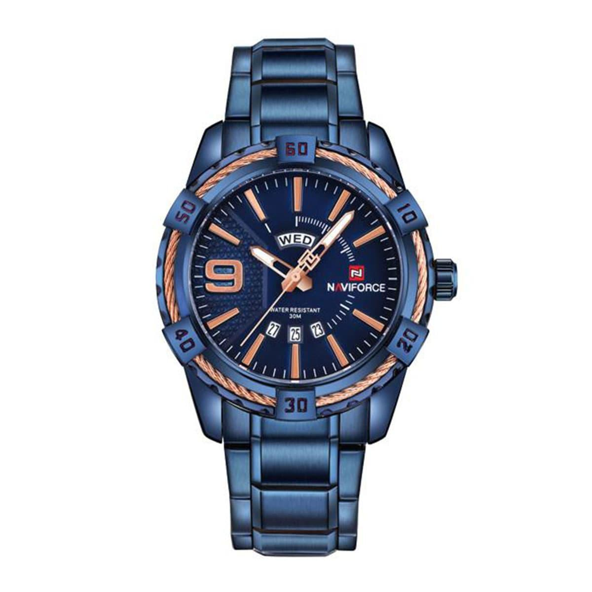 Naviforce NF9117 - Royal Blue Stainless Steel Analog Watch for Men - Royal Blue
