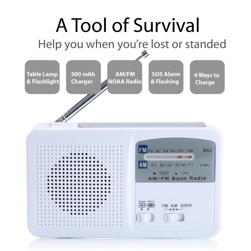 Emergency Solar Hand Crank Self Powered Analog FM/AM Radio Cell Phone  Charger With LED Flashlight(White)