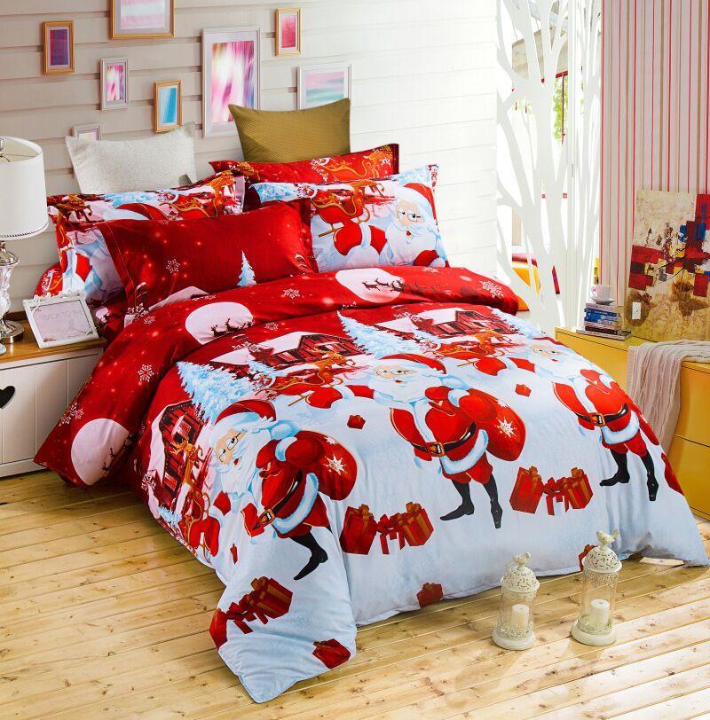 4pcs Micro Fiber Home Cartoon Bedding Set Bedclothes Duvet Cover Quilt Sheets Pillowcase Comforter Sheet Christmas Weihnachten