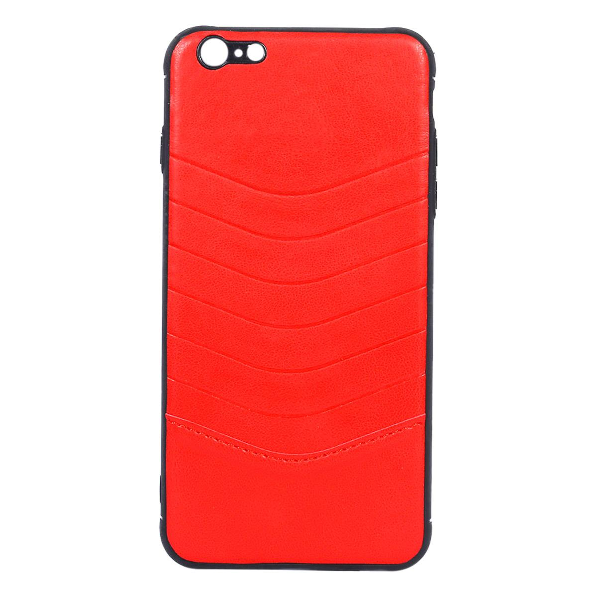 Leather Back Cover for iPhone 6 Plus - Red