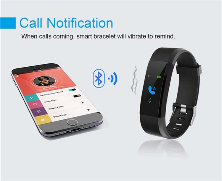 Hot Sale ID115 plus smart bracelet bluetooth smart sleep wristband bracelet 2018 Health Heart Rate Monitoring