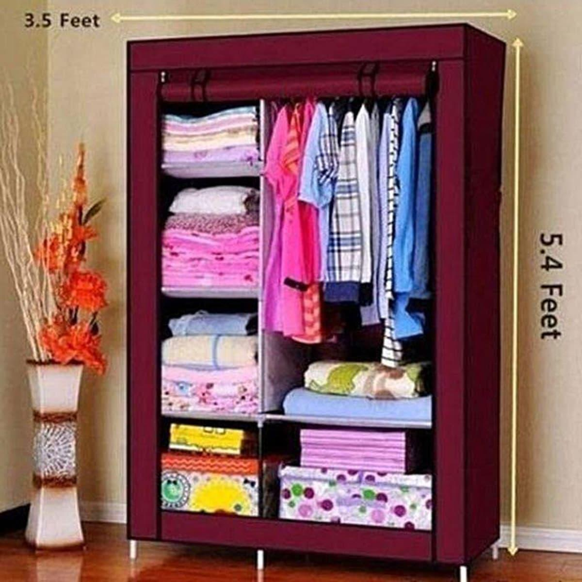 740aaa7f2 Anbobo Non-Woven Fabric Wardrobe Portable Clothes Closet Storage Organizer  (Maroon)