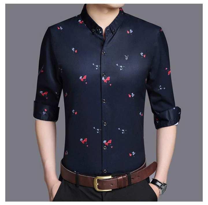 Navy Blue Flower Print Cuasal Shirt For Man