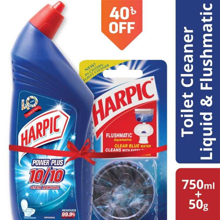 Harpic Liquid Toilet Cleaner 750ml and Flushmatic Toilet Cleaner 50gm Combo