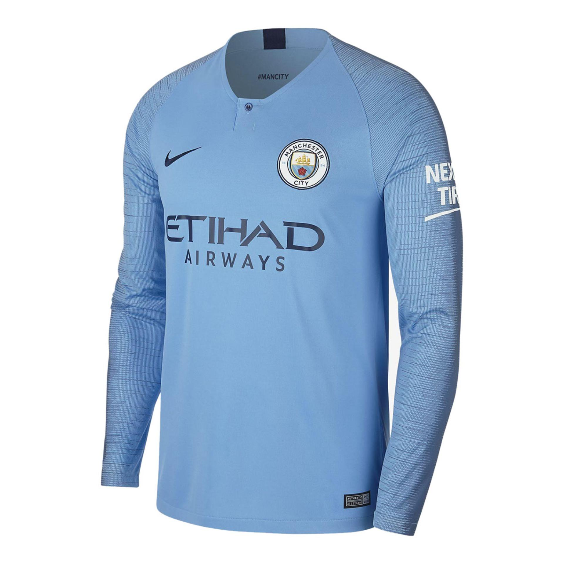7375ad4ab 2018-19 Manchester City Home Long Sleeve Jersey (China) - Light Blue
