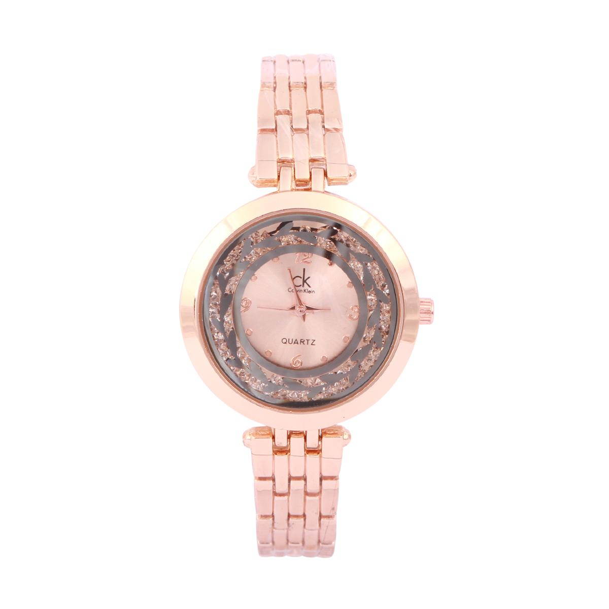 c06cb693c Gorgeous Stone Design Calvin Klein Brand Analog Dial Women's Watch With Nice  Golden with metal Chain
