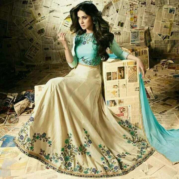 Unstitched Beige and Sky Blue Georgette Gown For Women