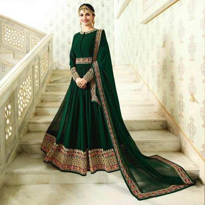 Unstitched Dark Green  Georgette Gown For Women